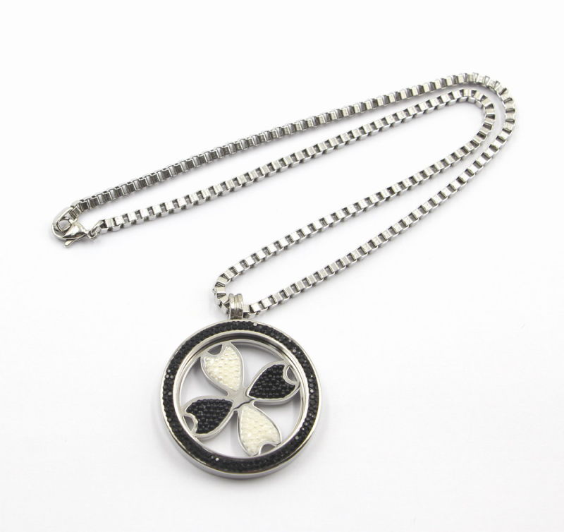 38mm Rd Screw on Top 316L Stainless Steel Locket Pendant with Flower Coin Inside