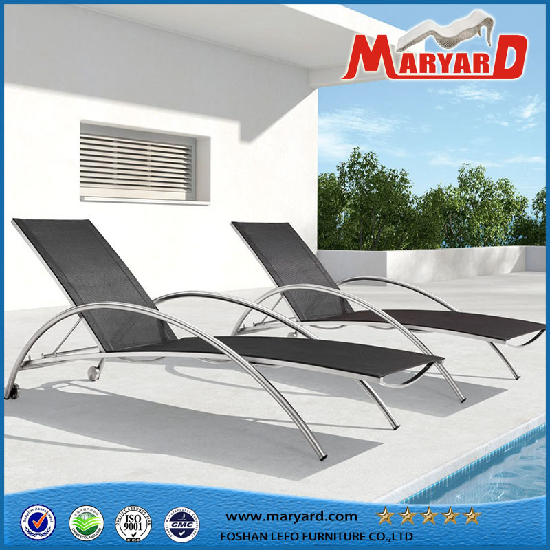 Modern Patio Stainless Steel Sun Lounger with Mesh Fabric