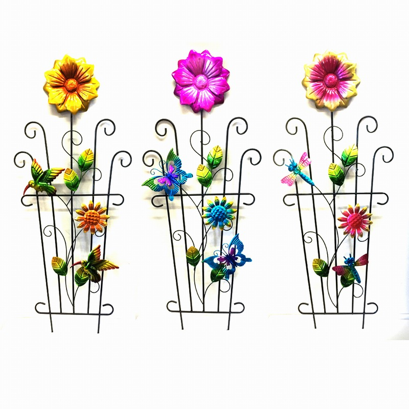 Vivid Colored Metal Decoration Spring Garden Flower Fence Craft
