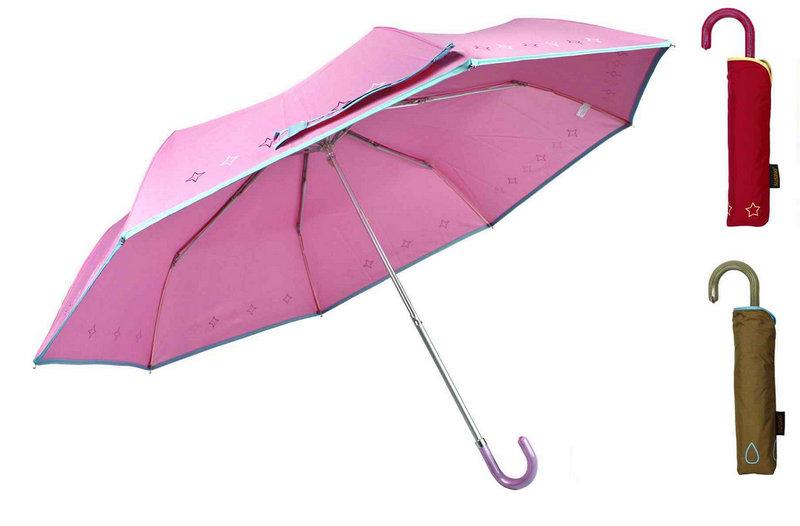 Piping Print Compact Aluminum Light Umbrella (YS-3FM21083945R)