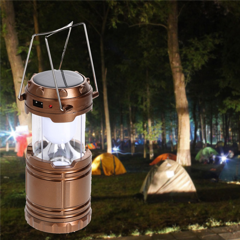 Solar 6 LED Lantern Lamp Outdoor Super Bright Rechargeable 60lm Camping Light Portable Outdoor LED Lantern