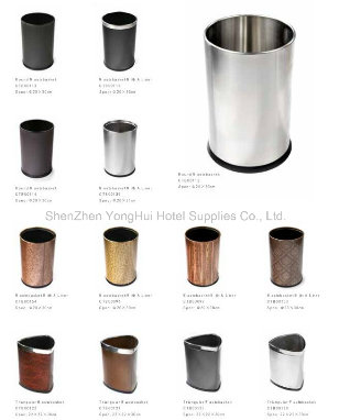 Leather Steel Floor Stand Waste Bin Recycle Trash Can Lid Hotel Room