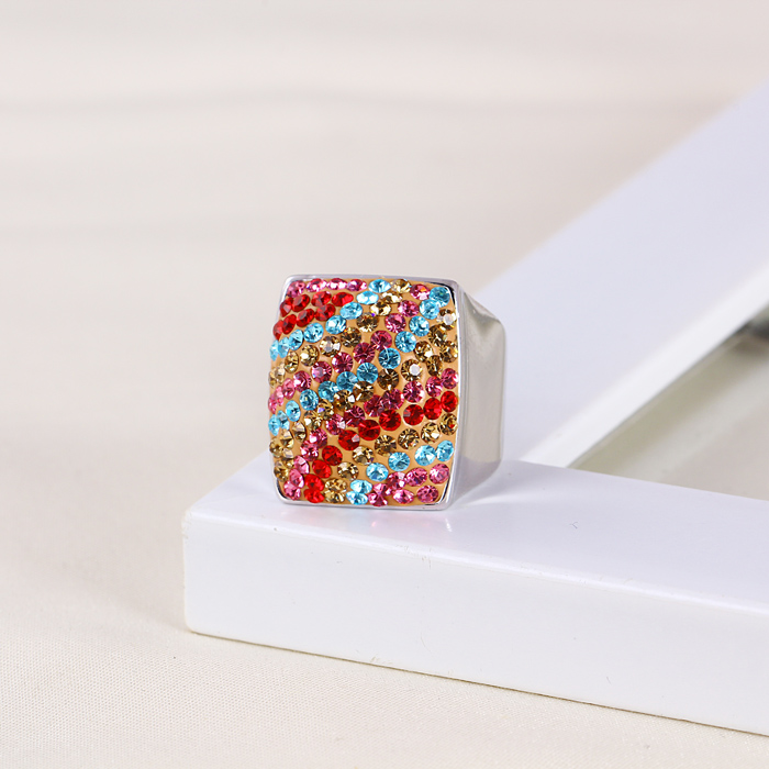 Xuping Colourful Luxury Zircon White Gold Ring