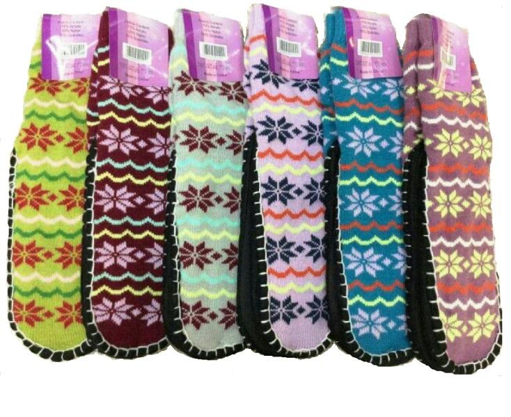 Snowflake Knitted Indoor Floor Shoes Socks Anti-Slip