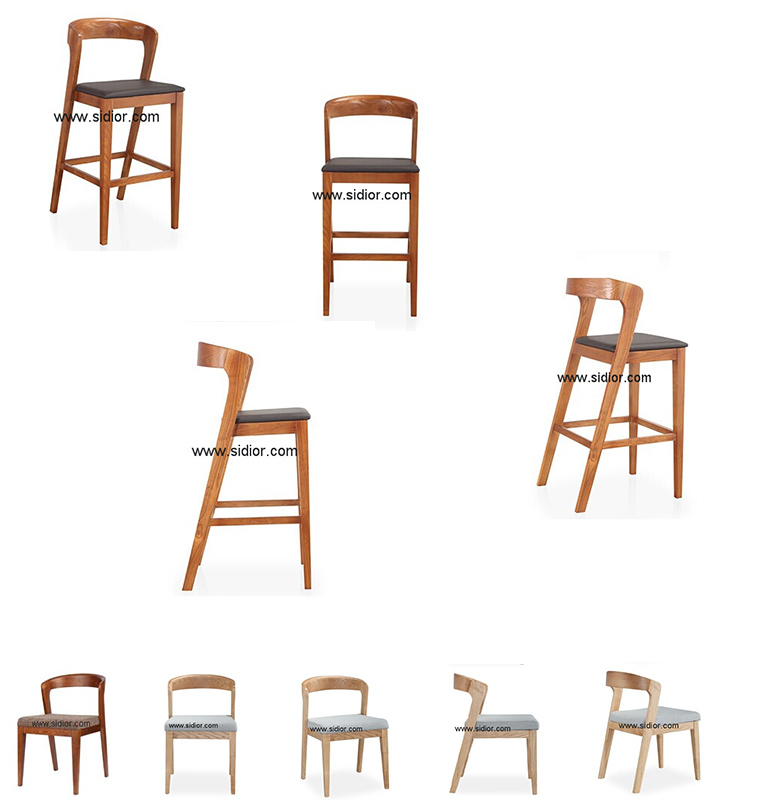 (SD-1012B) Modern Hotel Restaurant Furniture Wooden High Barstool Bar Chair