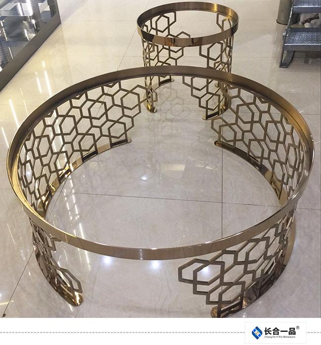 New Style Stainless Steel Mirror Titanium Golden Round Tea Table