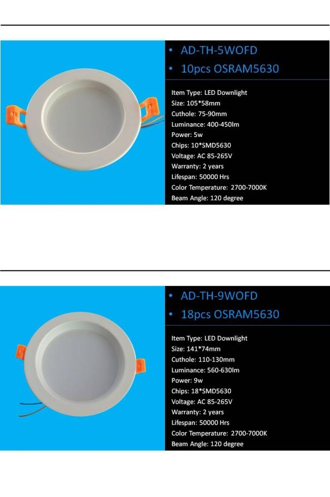 Aluminum 5W Recessed Ceiling LED Spot Light 2.5 Inch