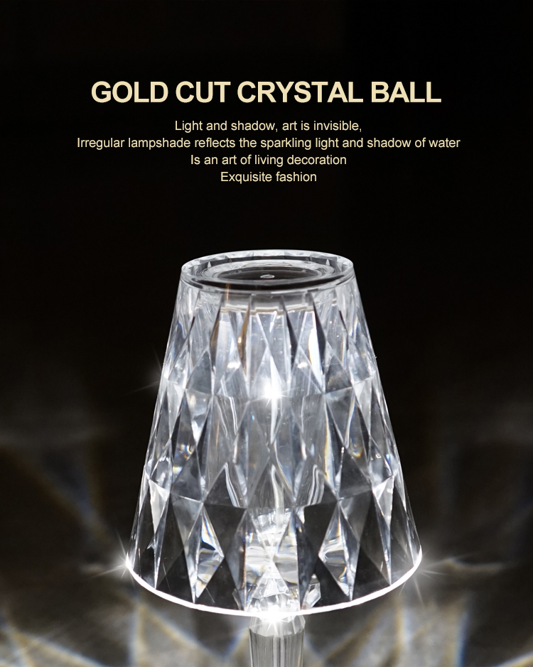 Professional Customized Lobby Hotel Restaurant Indoor 5V Portable Rechargeable Crystal Led Table Lamp