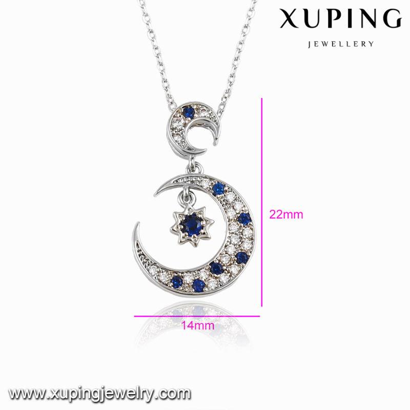 00117 Fashion Rhodium CZ Moon Star Design Jewelry Pendant Necklace
