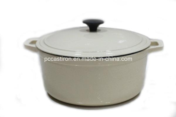 5qt White Cast Iron Casserole