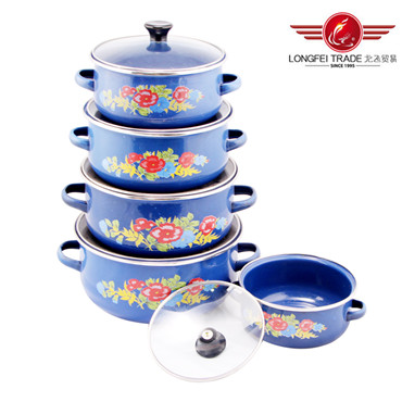 5PCS Enamel Casserole Pot with Decal