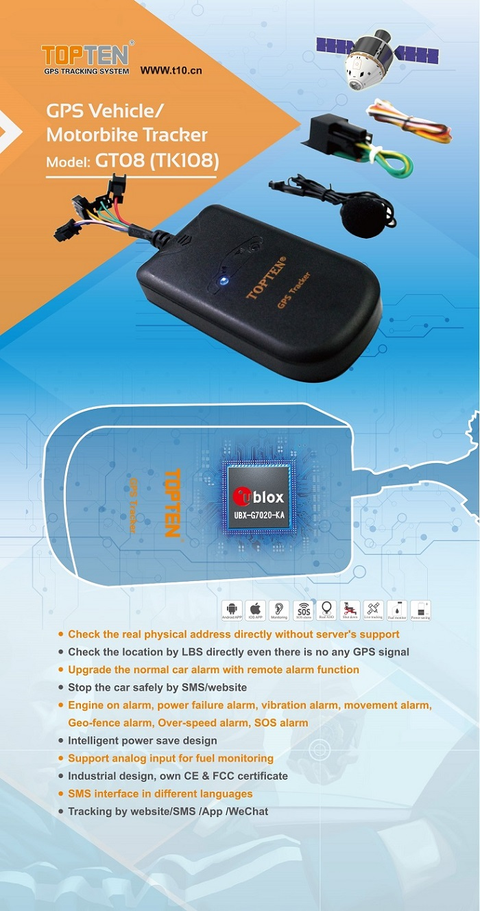 GPS Car Locator for Vehicles with Speed Report, Mileage Report (GT08-ER)