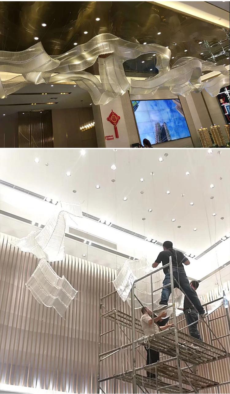 Centro comercial decoración de interiores elegante lámpara colgante de araña de acero inoxidable dorado
