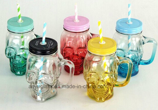Mini Glass Mug or Cup with Handle, Mason Storage Glass Jar
