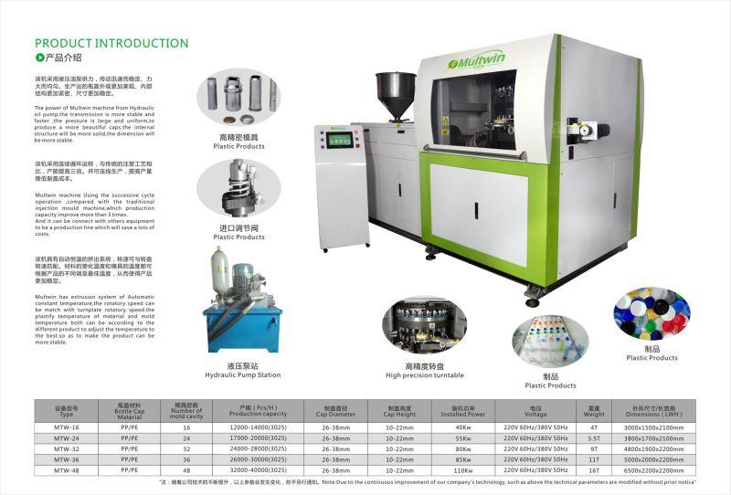 Shenzhen Jiarun Mtw-16/24/32/38/48/64ect Cavity Bottle Cap Making Machine