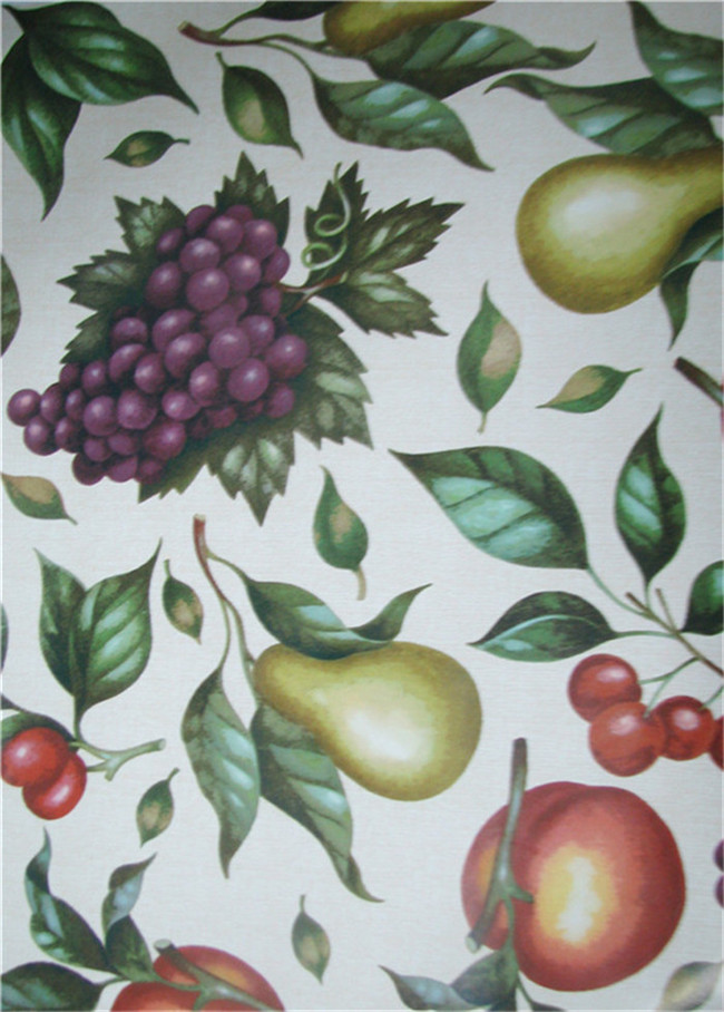 Hot Popular Nonwoven Backing PVC Printed Tablecloth with Vegetable and Fruit Design