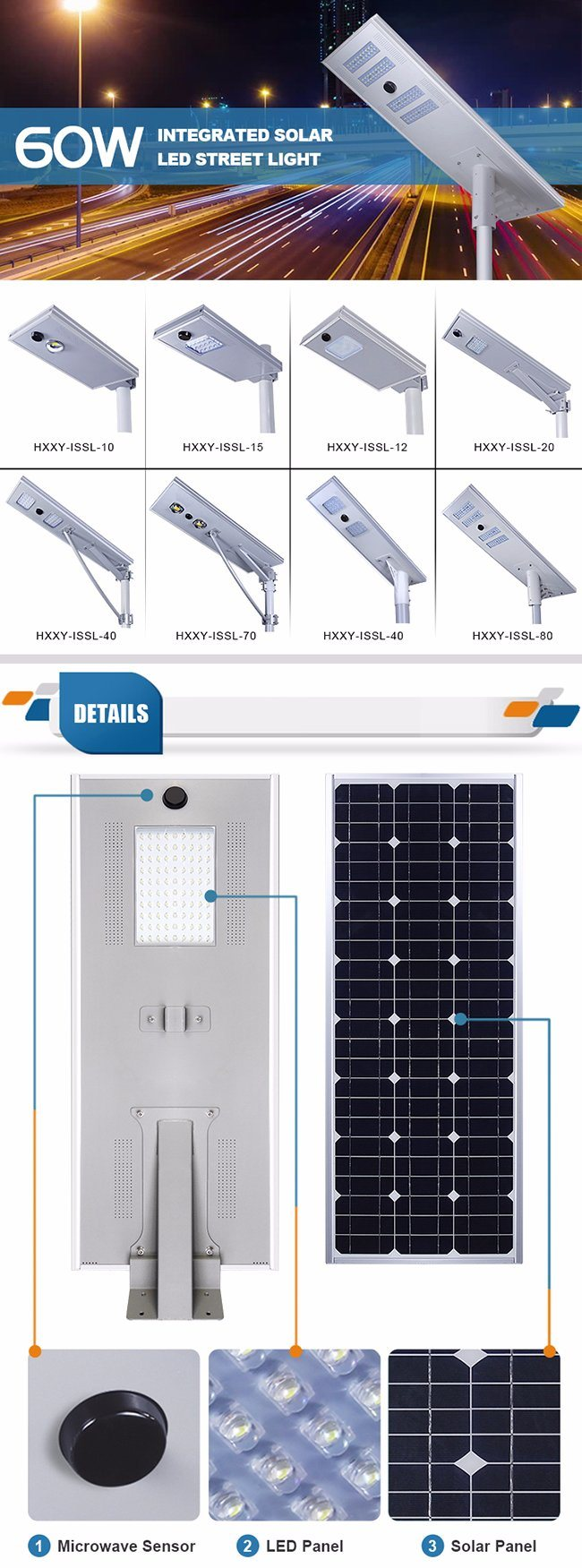 30W Aluminum Alloy Solar Street Light LED Lighting Product