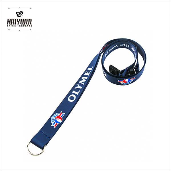 Customized Advertising Slippy Polyester Lanyard with Metal Ring for Promotion