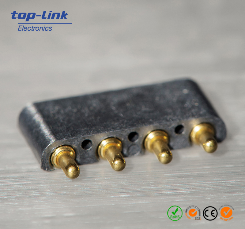 Custom Pogo Pin Connector, Made of Brass and Stainless Steel with Gold Plated