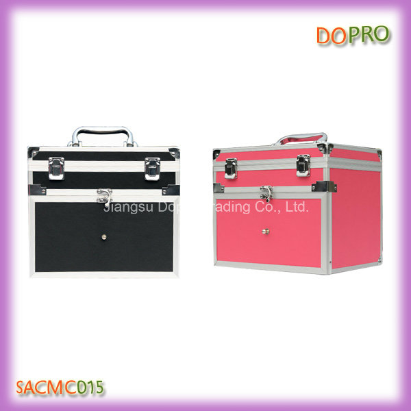 Pink Color Easy Carry Handle Aluminum Nail Polish Case (SACMC015)
