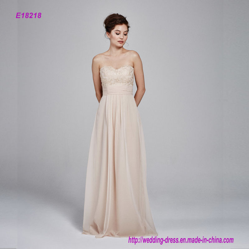 Embroidered Lace Strapless Bridesmaid Dress