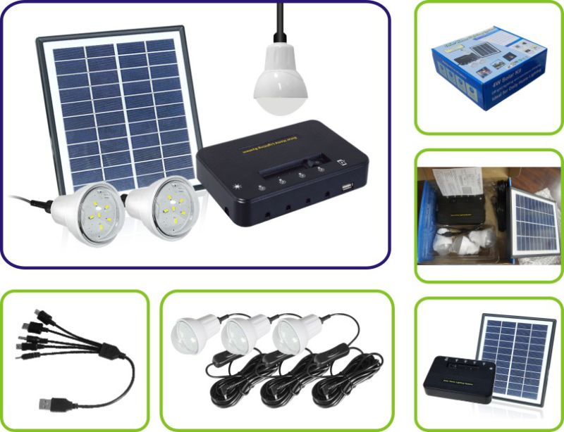 4W 11V Solar Panel 3PCS 1W LED Solar Light Bulbs Solar Kit Home Solar System (PS-K013)