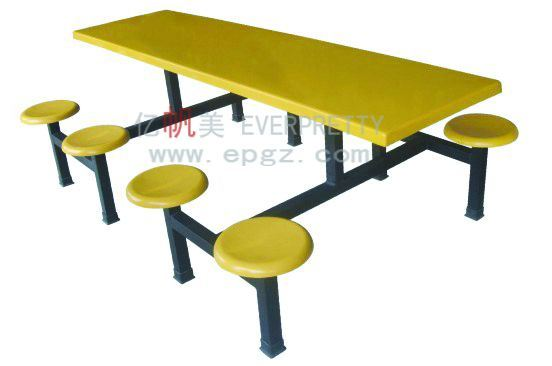 Colorful School Furniture Wooden Fast Food Restaurant Dining Table and Chair