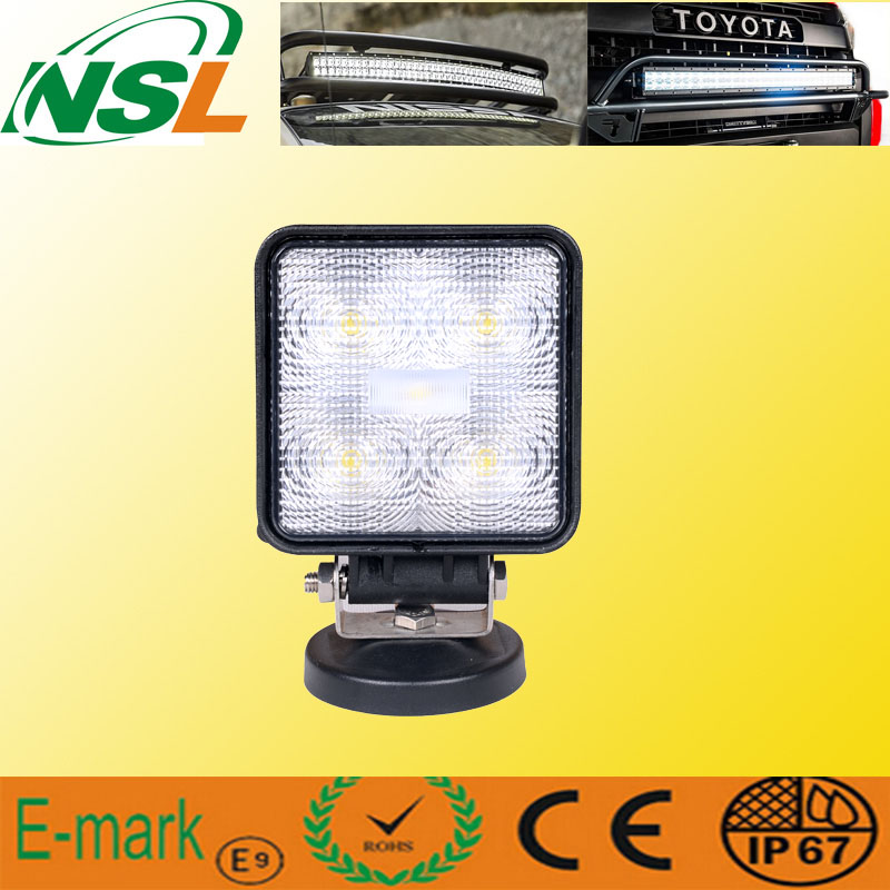 15W LED Work Light, 10-30V DC LED Work Light with 1275lm, Spot/Flood Beam, 5PCS X 3W Epsitar LEDs for Trucks, LED Work Light