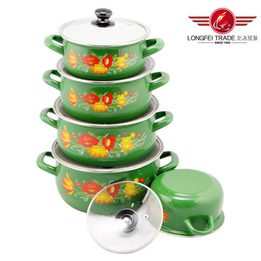 5PC Enamel Cooware Pot with Glass Lid (12-20cm)