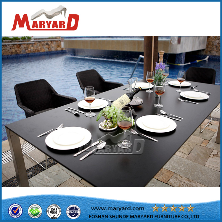 Tempered Glass Table Top Rattan Chair Dining Table Set