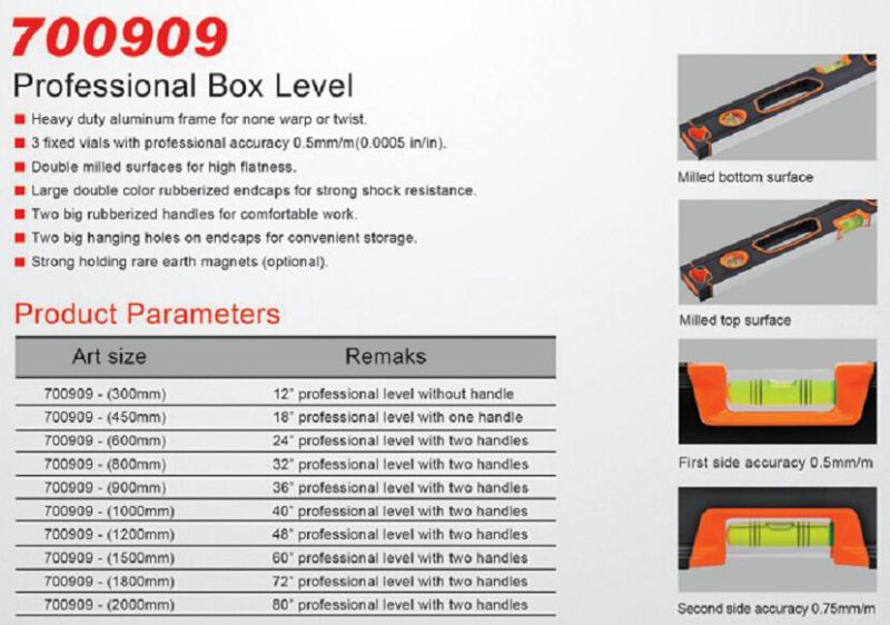 Top Grade Aluminum Professional Box Level (700909)