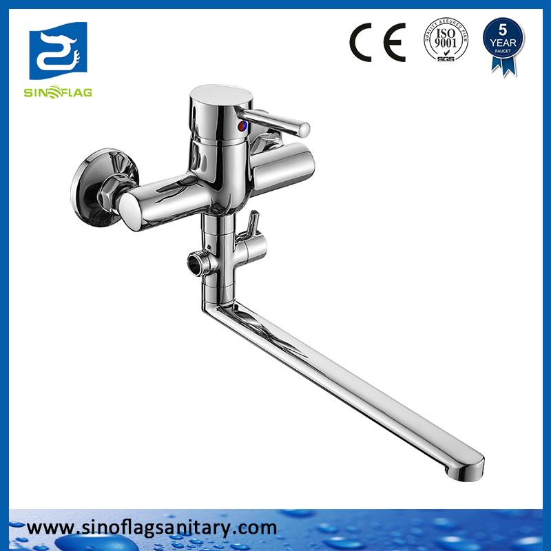 Wall Mounted Round Bathtub Brass Faucet Shower Mixer