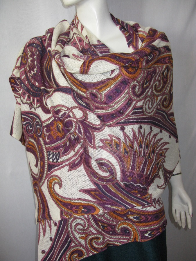 100% Cashmere Knitted Print Shawl