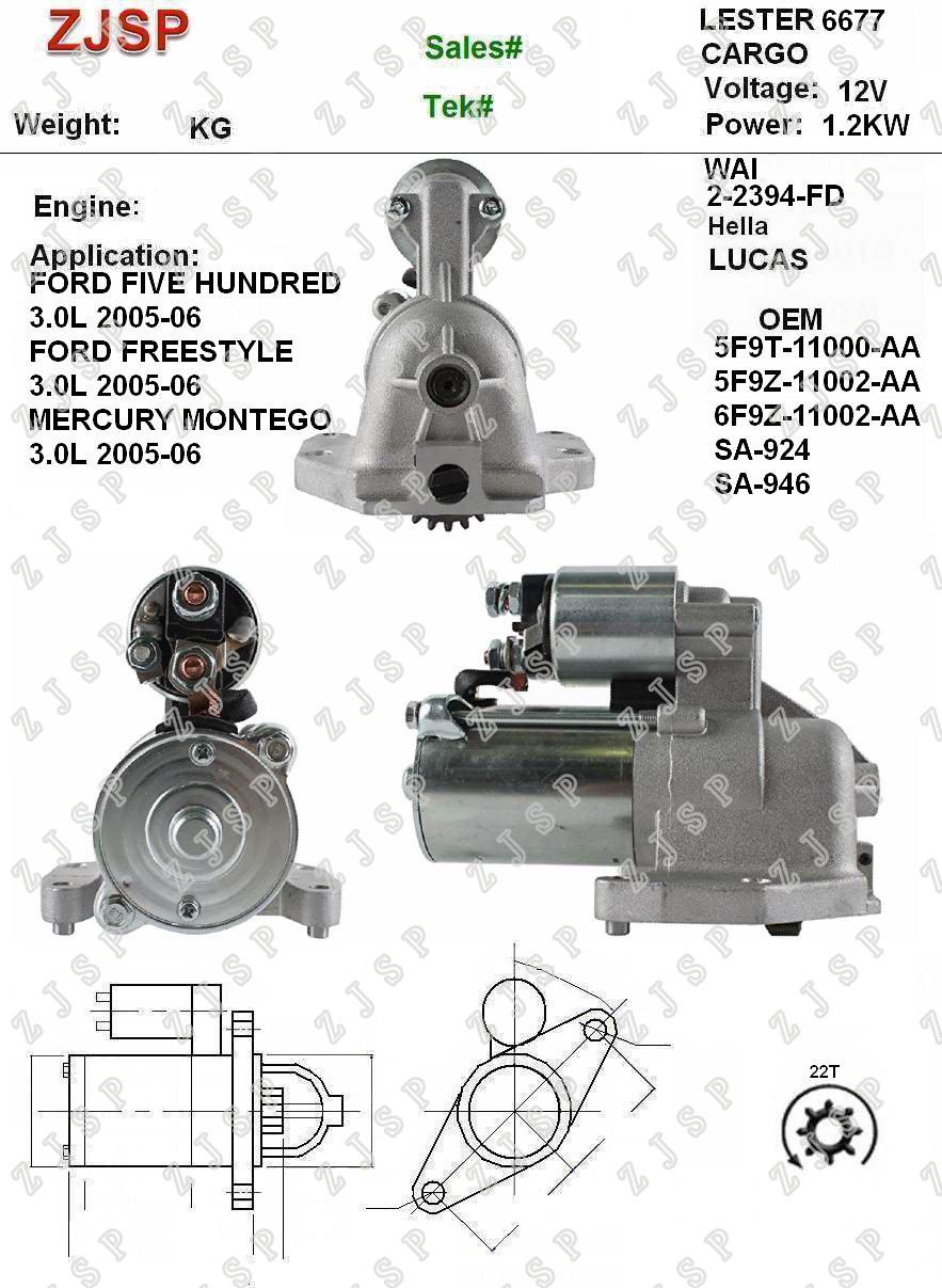 Ford Starter ZJS-F-0205F9T-11000-AA 5F9Z-11002-AA 6F9Z-11002-AA SA-924 SA-94666772-2394-FD12V/1.2KW22TCCWFord FIVE HUNDRED 3.0L 2005-06