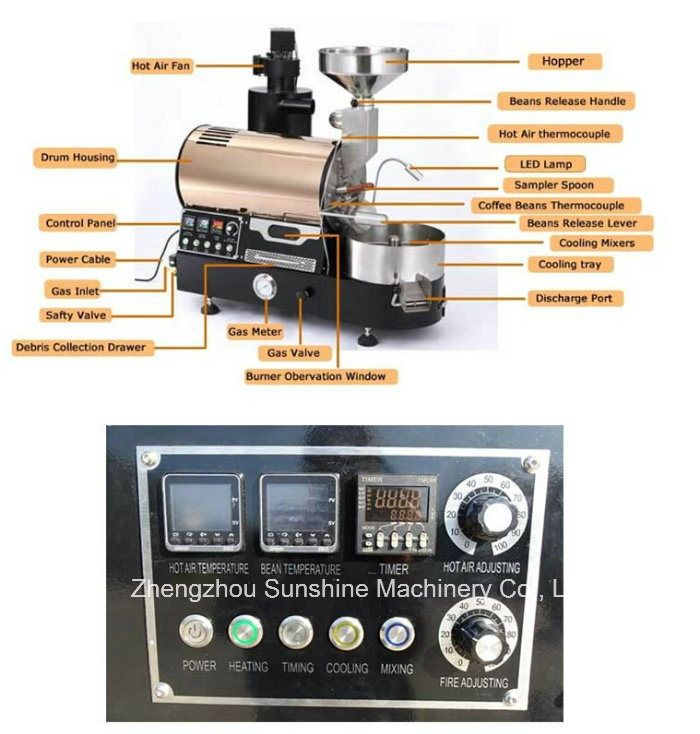 Coffee Roaster with Omron Control Instrument 1kg Coffee Bean Roaster