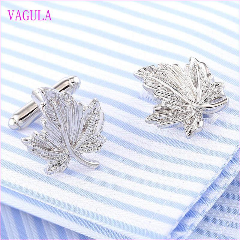VAGULA Quality Hot Selling Brass Leaf Gemelos Cuff Links  (318)
