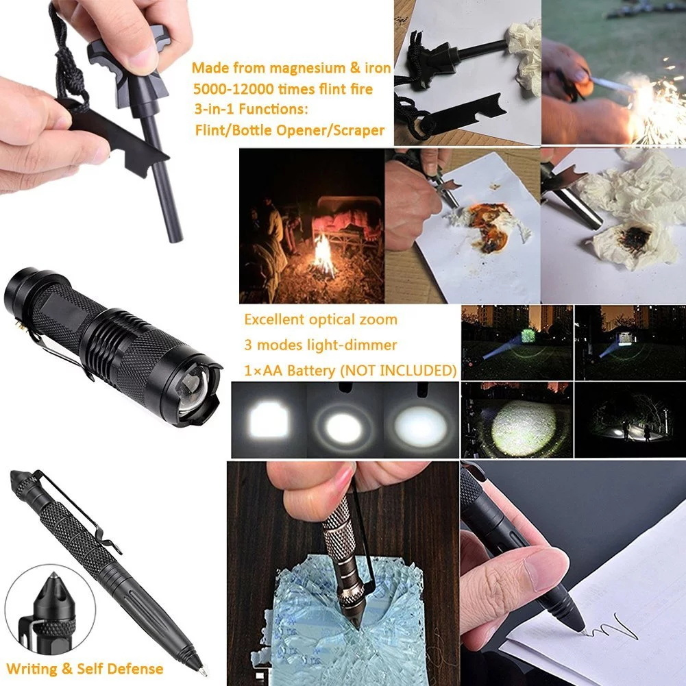 11 in 1 Outdoor Camping Emergency Kit Survival Gear Tool