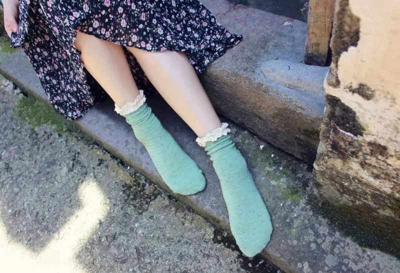New Styles Sweet Girl Cotton Socks Lace Cuff Good Looking Fall Season Socks