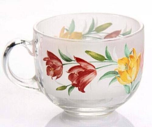 Nice Decal Flower Glass Mug Glass Cup for Beer