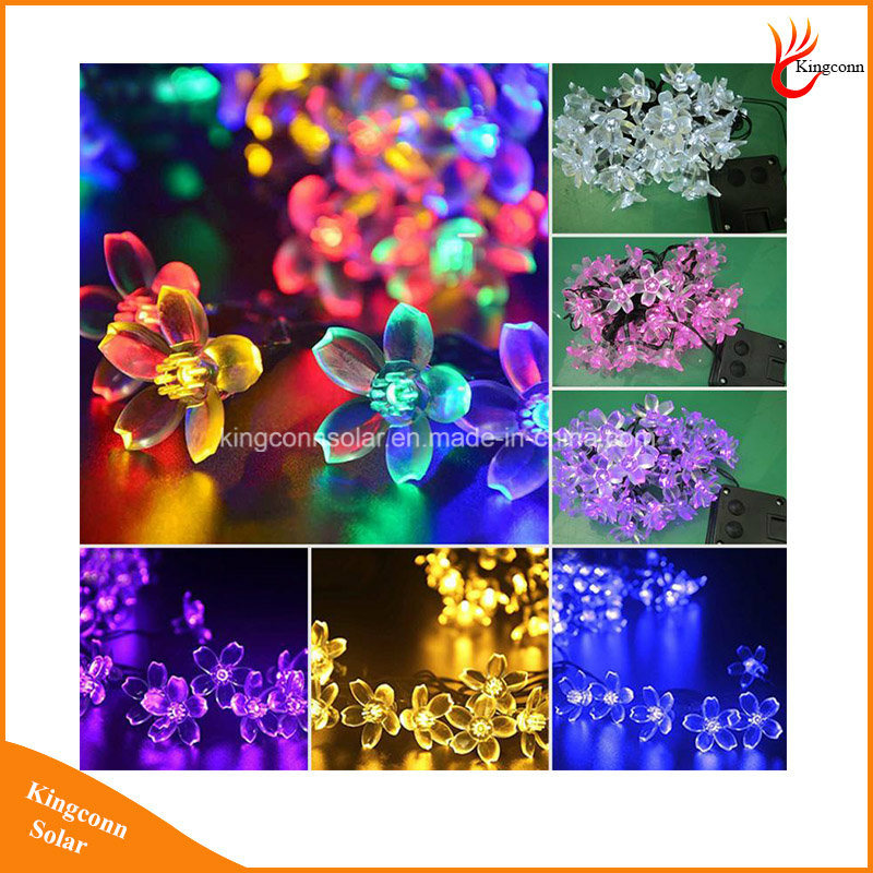 Peach Flower 20/30/ 50 LEDs Solar Powered String Decorative Light for Garden Christmas Holiday Party Wedding