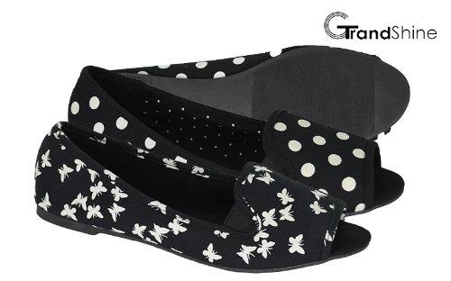 Women's Open Toe Flat Fabric Ballet Shoes