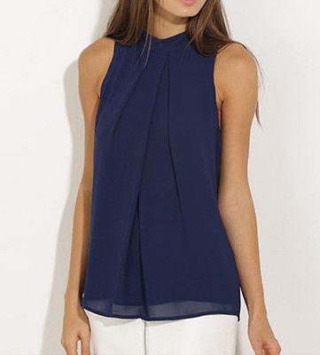 Fashion Women Chiffon Sleeveless Blouse Summer Casual Shirt Black Blouse