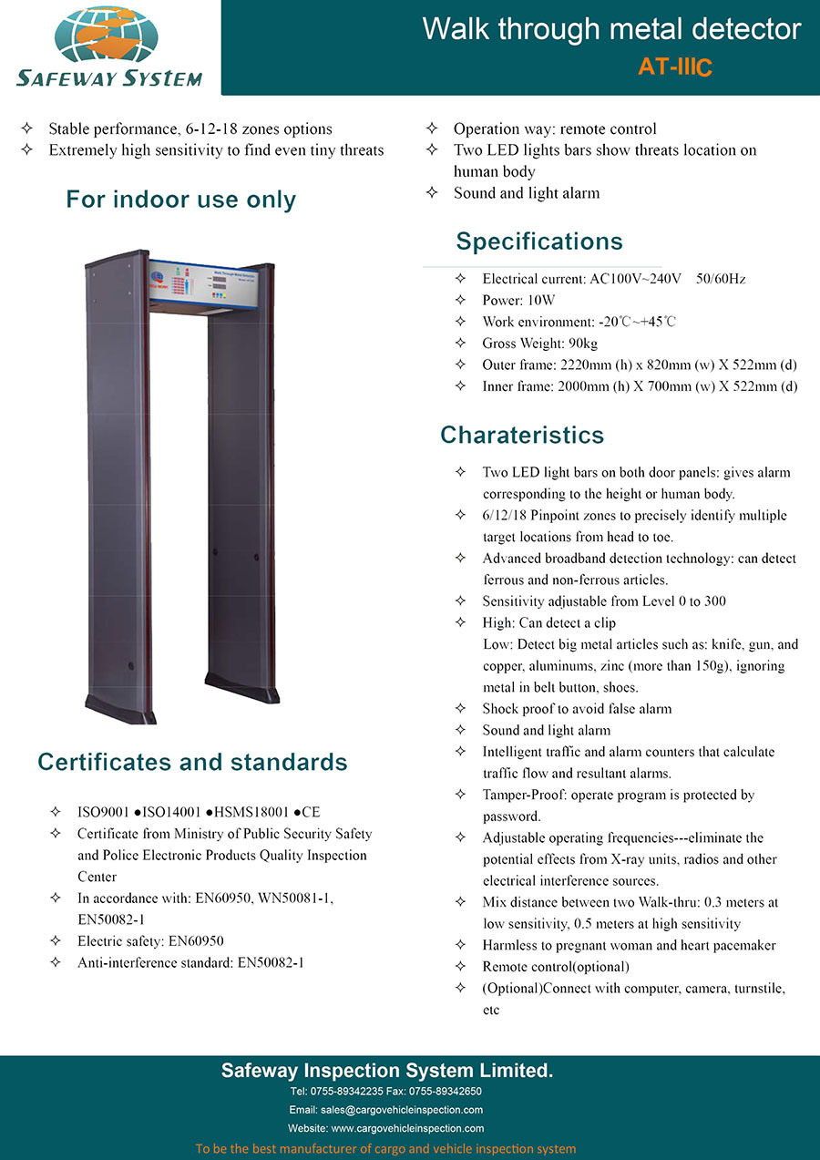 Passenger Scanner, Door Frame Metal Detector, Walk Through Metal Detector