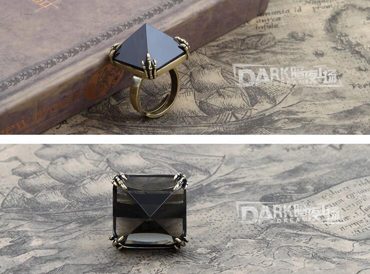 Fashion Ring Insert Black Crystal Jewellery Retro Copper Color