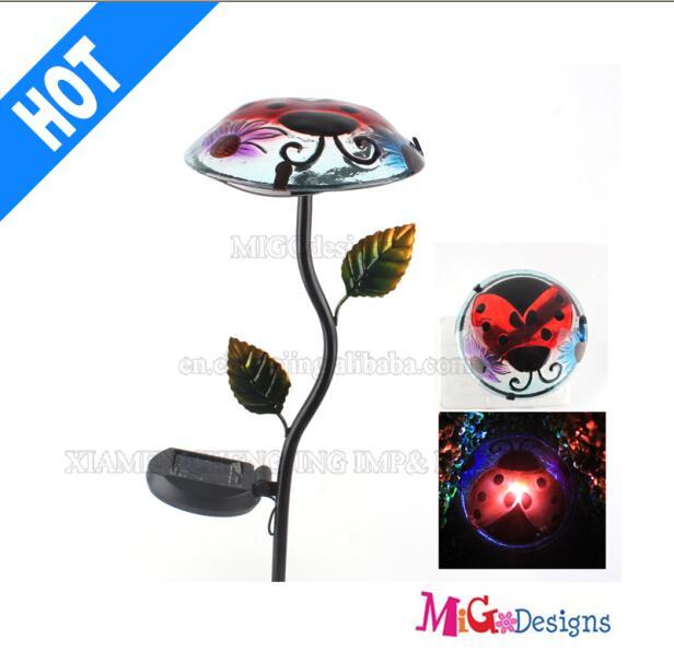 Highly Glass and Metal Solar Flower Mushroom Lights Stake