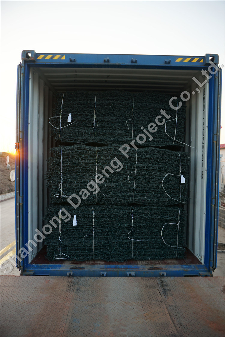 PVC Cotated Galvanized Steel Wire Woven Gabion Basket Green Color