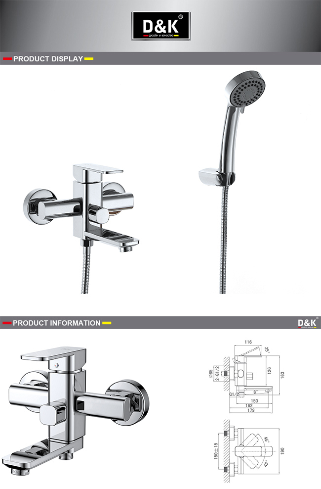 Square Handle Chrome Plated Brass Shower/Bath Faucet with Shower Kit