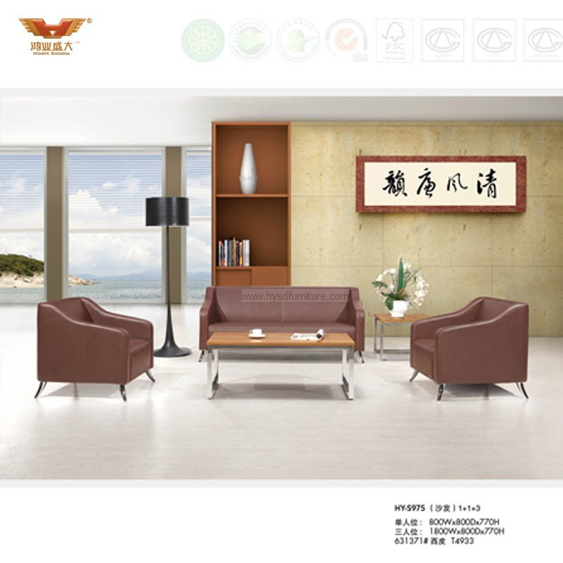 Brown Office Livingroom Leather Sofa Covered with Metal Leg (HY-S975)