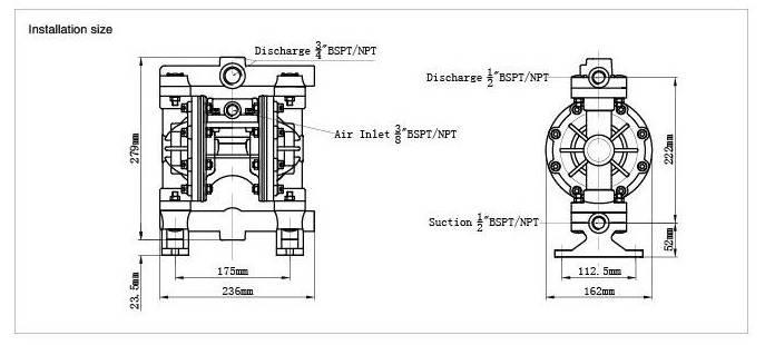 Air Operation Pump Air Driven Pneumatic Diaphragm Pump Liquid Pump (Qby-65)