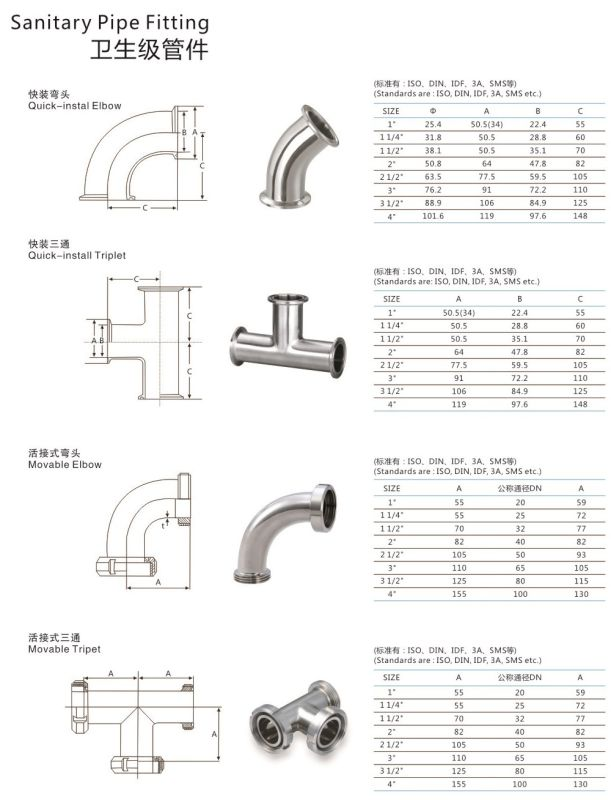Stainless Steel 45degree 304 316L Welded Sanitary Elbow
